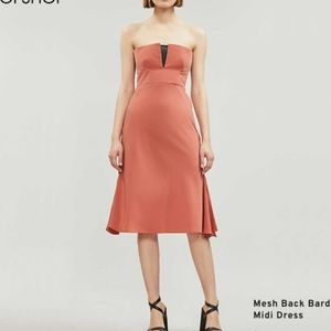 Topshop - Mesh Back Bardot Strapless Midi Dress